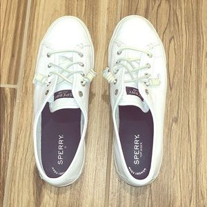 White Leather Sperrys